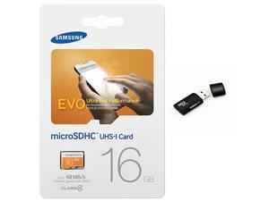 Samsung Evo 16GB MicroSD HC Class 10 UHS-1 Ultra Mobile Memory Card 16G MB-MP16D with black Memory Card Reader
