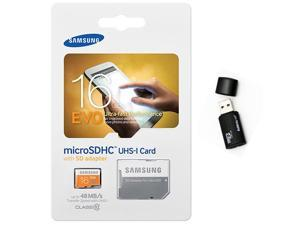 Samsung Evo 16GB MicroSD HC Class 10 UHS-1 Ultra Mobile Memory Card 16G MB-MP16DA with black Memory Card Reader