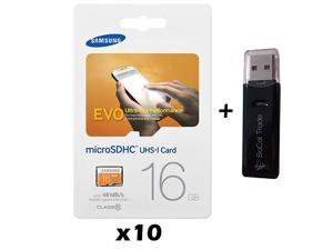 10 Pack - Lot of 10 Samsung 16GB MicroSD HC Class 10 Memory Card MB-MP16D with Dual Slot Memory Card Reader