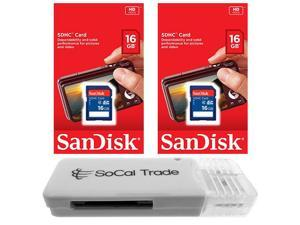 2 PACK - Lot of 2 SanDisk 16GB SD HC Class 4 SDHC Flash Memory Card SDSDB-016G with SD Memory Card Reader