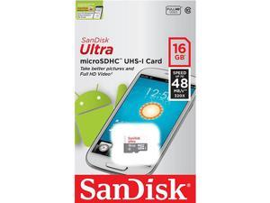 SanDisk Ultra 16GB UHS-I Class 10 MicroSDHC Memory Card Up to 48mb/s SDSQUNB-016G