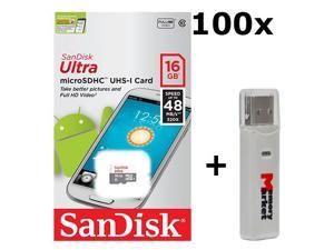 100 PACK - SanDisk Ultra 16GB UHS-I Class 10 MicroSDHC Memory Card Up to 48mb/s SDSQUNB-016G LOT OF 100 with USB 2.0 MemoryMarket dual slot MicroSD & SD Memory Card Reader