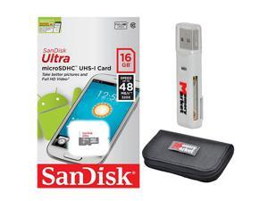 SanDisk Ultra 16GB UHS-I Class 10 MicroSDHC Memory Card Up to 48mb/s SDSQUNB-016G with USB 2.0 MemoryMarket dual slot MicroSD & SD Memory Card Reader and MemoryMarket Memory Card Wallet