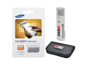 Samsung Evo 16GB MicroSD HC Class 10 UHS-1 Mobile Memory Card 16G MB-MP16DA with adapter, USB 2.0 MemoryMarket dual slot MicroSD & SD Memory Card Reader and MemoryMarket Memory Card Wallet