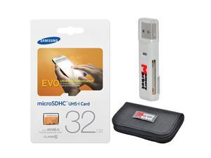 Samsung Evo 32GB MicroSD HC Class 10 UHS-1 Ultra Mobile Memory Card 32G MB-MP32D with USB 2.0 MemoryMarket dual slot MicroSD & SD Memory Card Reader and MemoryMarket Memory Card Wallet