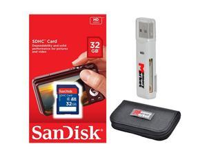 SanDisk 32GB SD HC Class 4 SDHC Secure Digital Flash Memory Card SDSDB-032G with USB 2.0 MemoryMarket dual slot MicroSD & SD Memory Card Reader and MemoryMarket Memory Card Wallet