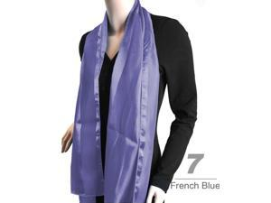 Women's French Blue Solid Polyester Satin Scarf SPS1301