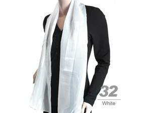 Women's  White Solid Polyester Satin Scarf SPS1301