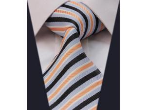 DWTS2018N - Men's Orange And Blue Stripes Jacquard Woven Classic Silk NeckTie