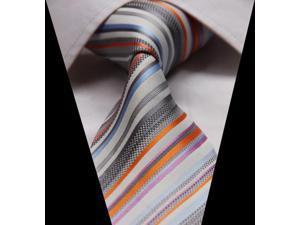 DWGA915 - Men's Orange And Gray Stripes Jacquard Woven Classic Silk NeckTie