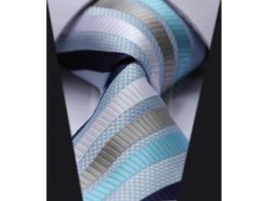 DWTS2012B8 - Men's Blue Stripes Jacquard Woven Classic Silk NeckTie
