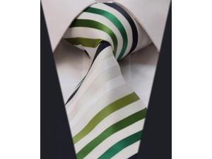 DWTS2016G - Men's Green And White Stripes Jacquard Woven Classic Silk NeckTie
