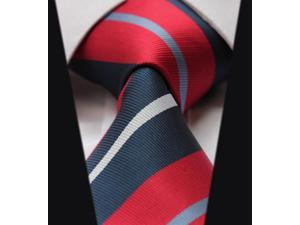 DWTS4019R8 - Men's Red And Blue Stripes Jacquard Woven Classic Silk NeckTie