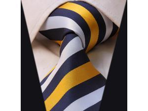 DWTS3002Y - Men's Blue And Yellow Stripes Classic 100% Silk NeckTie