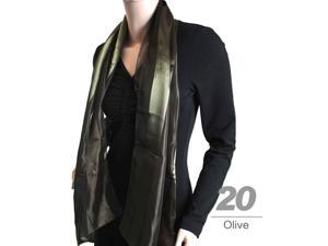 Women's Olive Solid Polyester Satin Scarf SPS1301