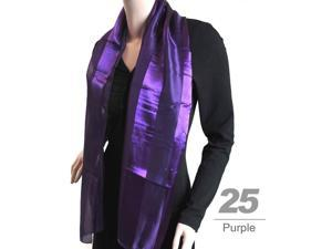 Women's Purple Solid Polyester Satin Scarf SPS1301