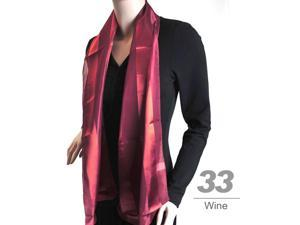 Women's  Wine Solid Polyester Satin Scarf SPS1301