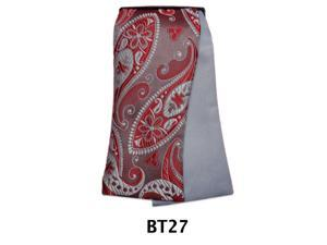 Men's Red And Grey Paisley and Solid Reversible Selftie Bow Tie BT27