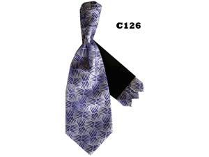 Men's Purple Geometric Cravats With Pre Fold Pocket Square C126