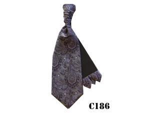 Men's Dark Purple Paisley Cravats With Pre Fold Pocket Square C186