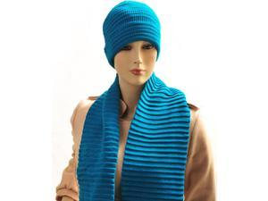 New Women's Turquoise Solid Color Scarf And Hat Set WNTSET04
