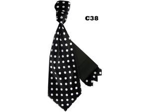 Men's Black And White Polka Dots Cravats With Pre Fold Pocket Square C38