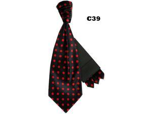 Men's Black And Red Polka Dots Cravats With Pre Fold Pocket Square C39