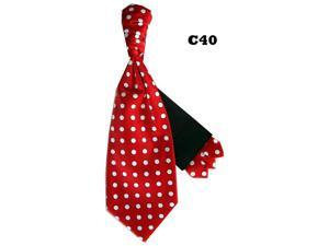 Men's Red And White Polka Dots Cravats With Pre Fold Pocket Square C40