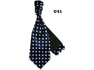 Men's Navy And White Polka Dots Cravats With Pre Fold Pocket Square C41