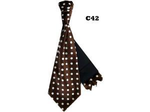 Men's Brown And White Polka Dots Cravats With Pre Fold Pocket Square C42