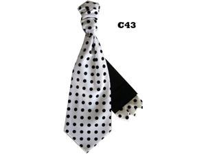 Men's White And Black Polka Dots Cravats With Pre Fold Pocket Square C43