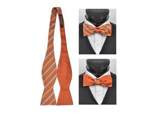 Men's Orange 100% Silk Woven Freestyle and Reversible Bow Tie FRBS1060