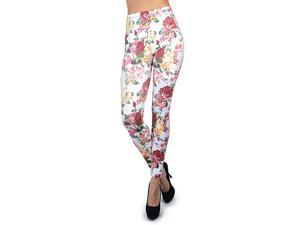Women's Soho Floral Bold Pink And White Print Leggings - L5060 SM (88cm)