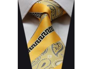 DWTFS004Y - Yellow Black Floral Stripe 3.4'' Silk Classic Woven Tie Necktie