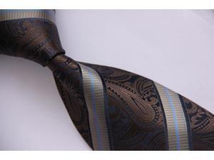 """DWTFS033Z - Brown Paisley Stripe Floral 3.4"""" Silk Woven  Tie Necktie"""