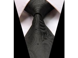 DWG822 - G822 Pure Black Floral Woven Classic 100% Silk s Tie Necktie