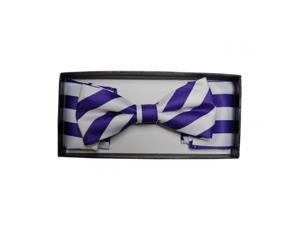 Boy's Purple & White Stripes Pre-tied Bow Tie with Matching Hanky Set K-112