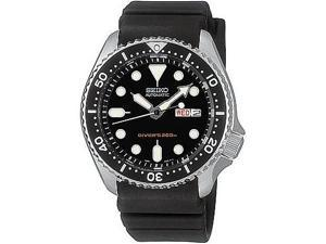 Seiko SKX007K Men's Automatic Watch with Rubber Band and Black Dial