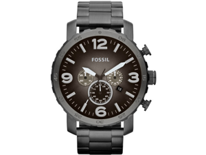 Fossil Nate Chronograph Smoke Grey Dial Ion-plated Mens Watch JR1437