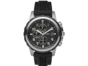Fossil Notched Bezel Silicone Strap Chronograph Mens Watch FS4613