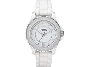 Fossil Ceramic Silicone Strap White Dial Women's watch #CE1034