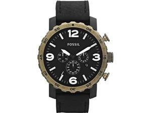 Fossil Nate Chronograph Black Dial Black PVD Stainless Steel Mens Watch JR1357