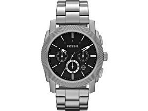 Fossil Men's Machine FS4776 Silver Stainless-Steel Quartz Watch with Black Dial