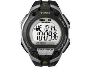 Timex Men's T5K412 Black Resin Quartz Watch with Silver Dial