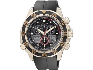 Citizen Men's Eco-Drive JR4046-03E Black Rubber Quartz Watch with Brown Dial