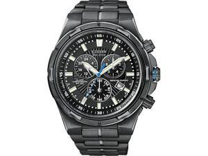 Citizen Perpetual Eco Drive Black Steel Chronograph Mens Watch BL5435-58E