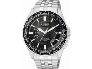Citizen World Perpetual AT Eco-Drive Black Dial Steel Mens Watch CB0020-50E