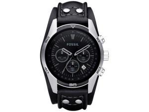 Fossil Trend Chronograph Black Dial Black Leather Mens Watch CH2586