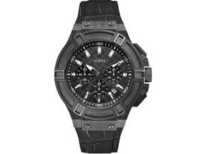 Mens Black Guess Multi-Function Leather Strap Watch U0408G1