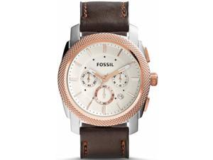 Men's Fossil Machine Chronograph Leather Strap Watch FS5040